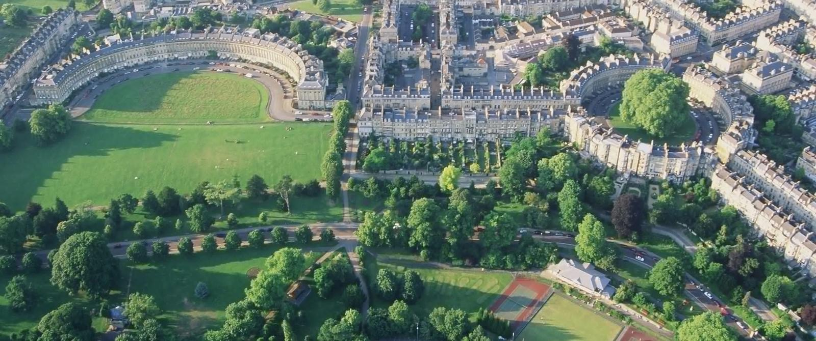 image:aerial view of the Royal Crescent and Circus