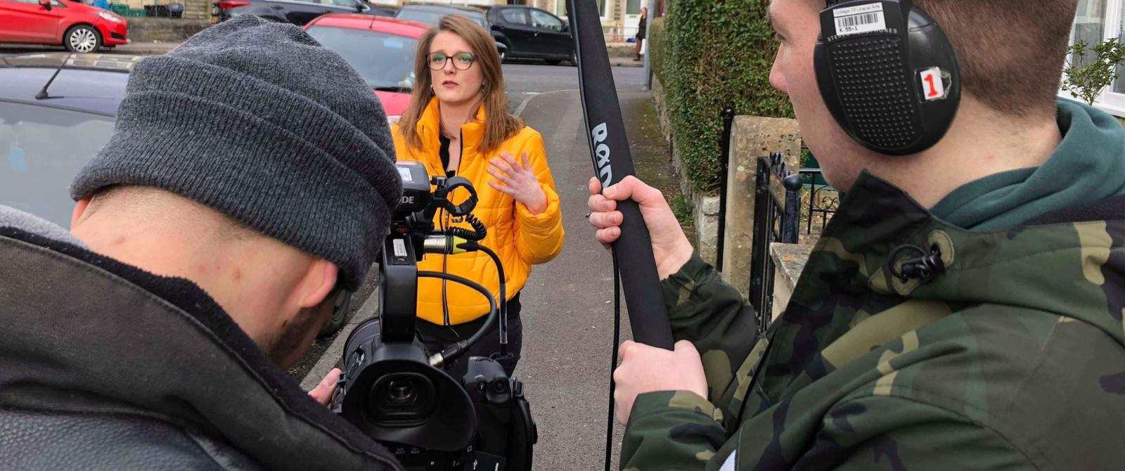 image:student filming in Bath