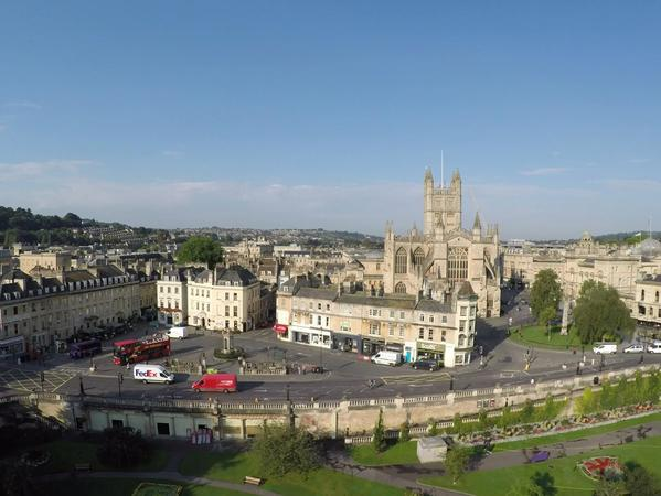 image: aerial view of Bath from Parade Gardens